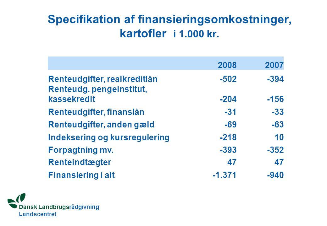Dansk Landbrugsrådgivning Landscentret Specifikation af finansieringsomkostninger, kartofler i 1.000 kr.