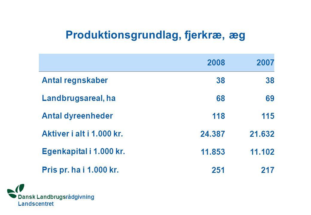 Dansk Landbrugsrådgivning Landscentret Produktionsgrundlag, fjerkræ, æg 20082007 Antal regnskaber 38 Landbrugsareal, ha 6869 Antal dyreenheder 118115 Aktiver i alt i 1.000 kr.