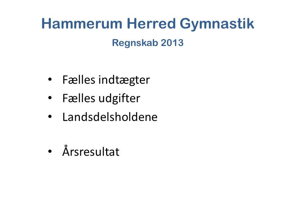 Hammerum Herred Gymnastik Regnskab 2013 Fælles indtægter Fælles udgifter Landsdelsholdene Årsresultat