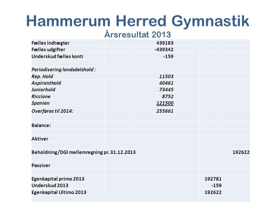 Hammerum Herred Gymnastik Årsresultat 2013 Fælles indtægter439183 Fælles udgifter-439342 Underskud fælles konti-159 Periodisering landsdelshold : Rep.