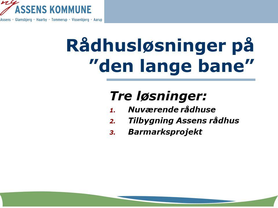Rådhusløsninger på den lange bane Tre løsninger: 1.