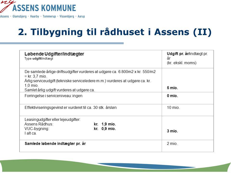 2. Tilbygning til rådhuset i Assens (II) Løbende Udgifter/indtægter Type udgift/indtægt Udgift pr.
