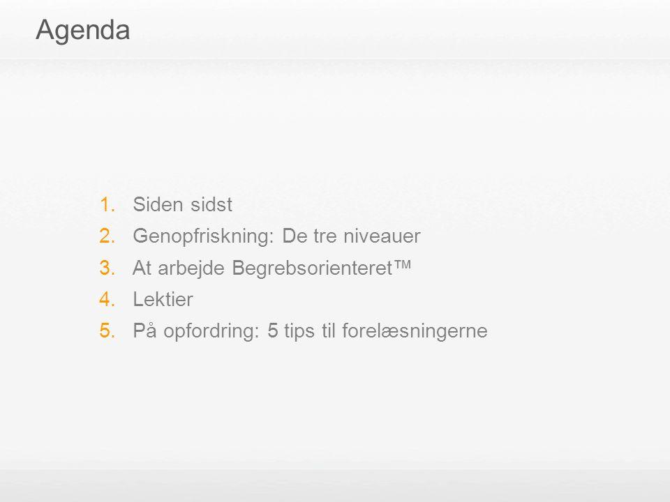 Agenda 1. Siden sidst 2. Genopfriskning: De tre niveauer 3.