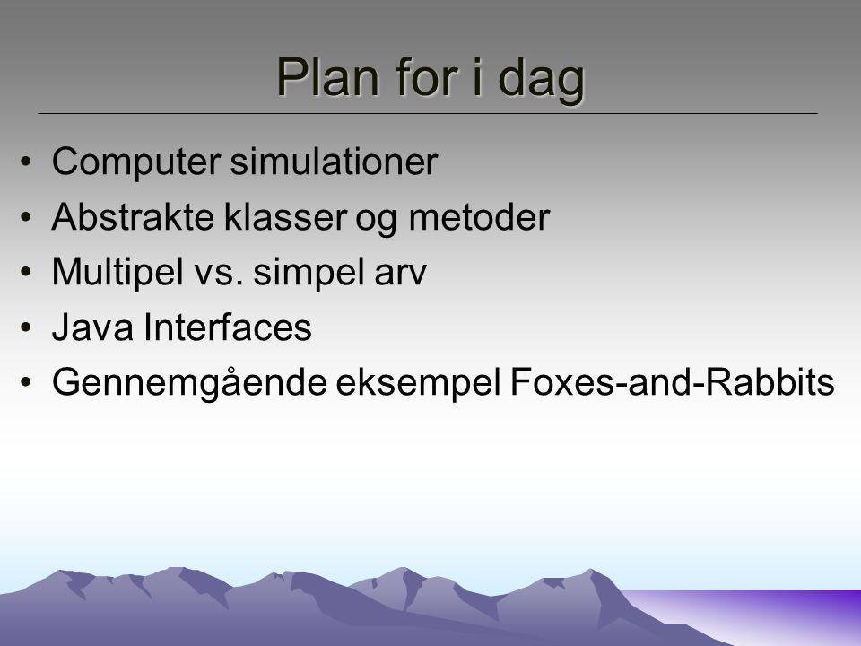 Plan for i dag Computer simulationer Abstrakte klasser og metoder Multipel vs.
