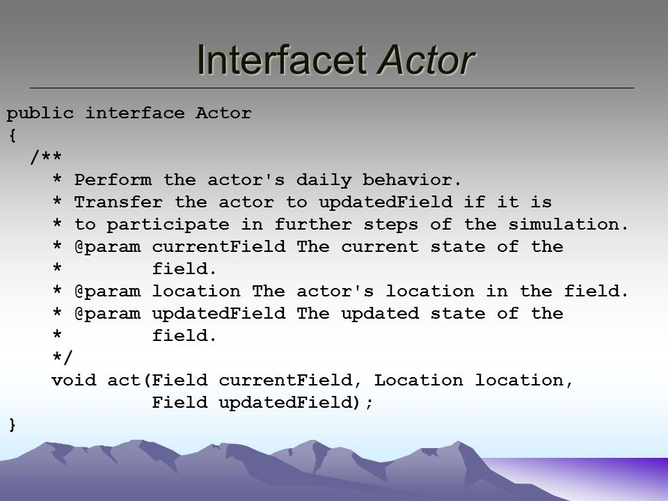 Interfacet Actor public interface Actor { /** * Perform the actor s daily behavior.