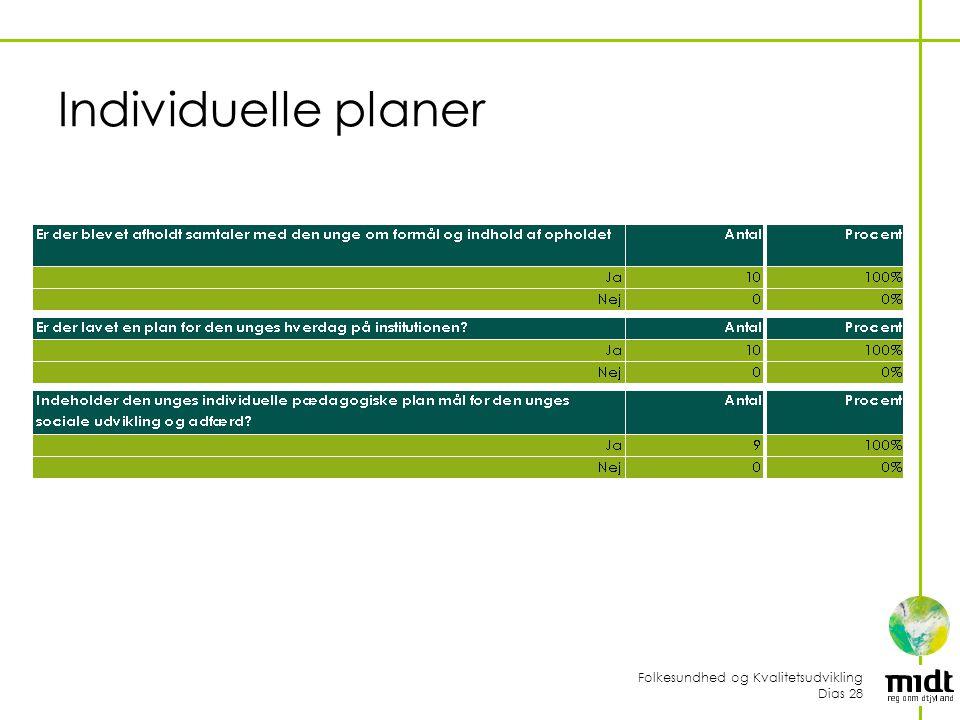 Folkesundhed og Kvalitetsudvikling Dias 28 Individuelle planer