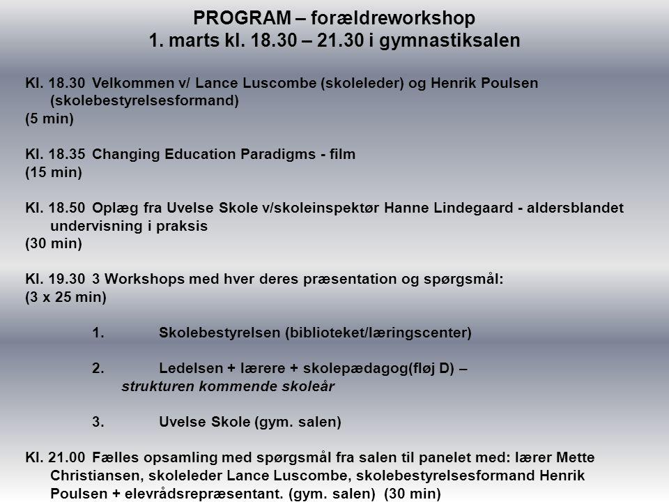 PROGRAM – forældreworkshop 1. marts kl. 18.30 – 21.30 i gymnastiksalen Kl.