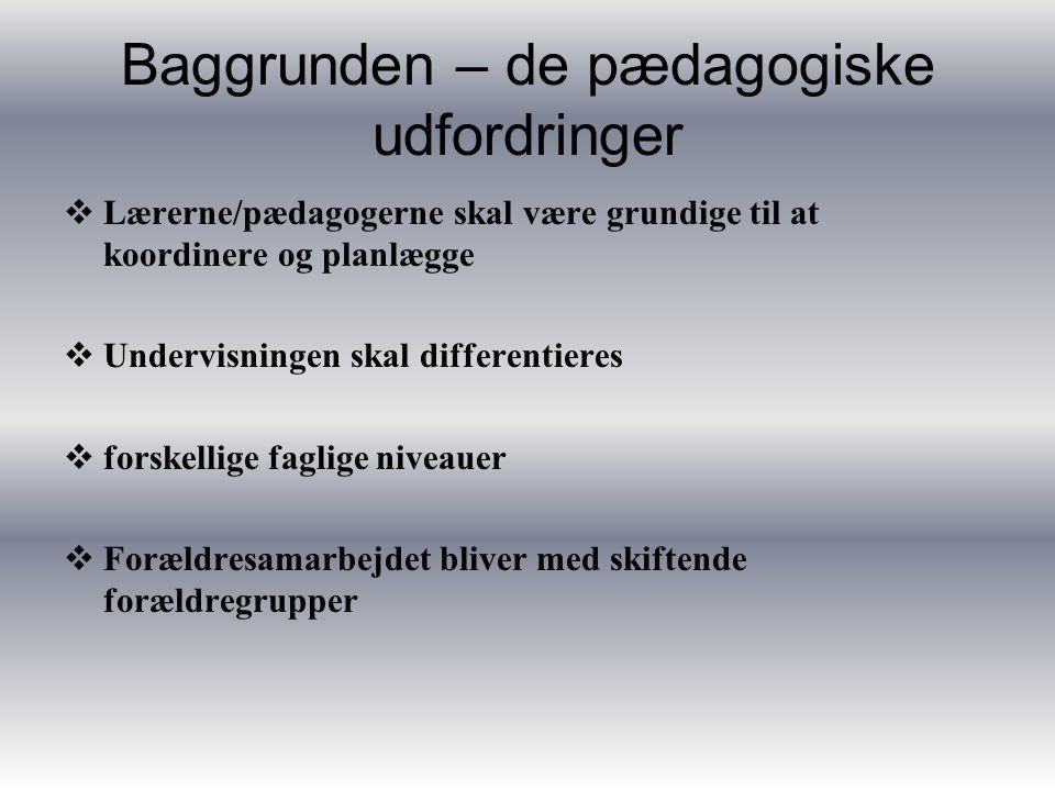  Lærerne/pædagogerne skal være grundige til at koordinere og planlægge  Undervisningen skal differentieres  forskellige faglige niveauer  Forældresamarbejdet bliver med skiftende forældregrupper Baggrunden – de pædagogiske udfordringer