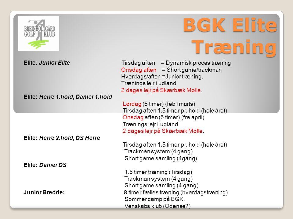 BGK Elite Træning Elite: Junior Elite Tirsdag aften = Dynamisk proces træning Onsdag aften = Short game/trackman Hverdags/aften =Junior træning.