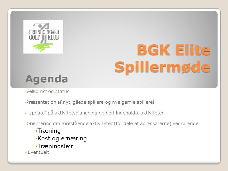 BGK Elite Spillermøde Agenda Velkomst og status Præsentation af nytilgåede spillere og nye gamle spillere.