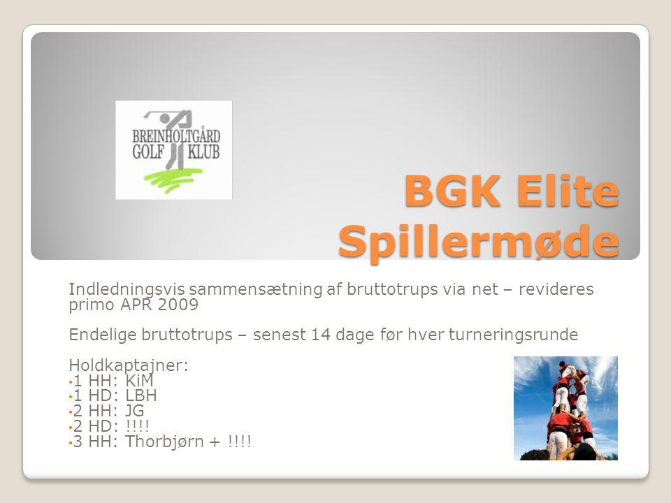 BGK Elite Spillermøde Indledningsvis sammensætning af bruttotrups via net – revideres primo APR 2009 Endelige bruttotrups – senest 14 dage før hver turneringsrunde Holdkaptajner: 1 HH: KiM 1 HD: LBH 2 HH: JG 2 HD: !!!.