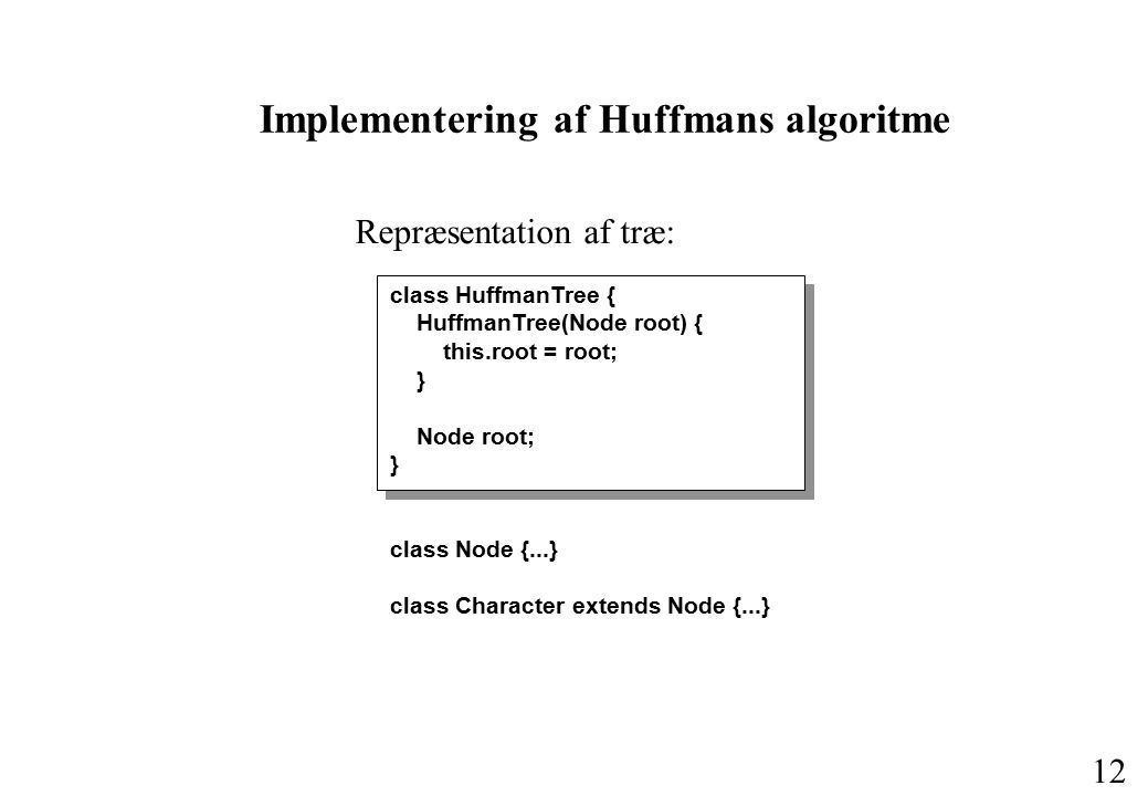 11 Huffmans algoritme A 5 B 2 R 2 C 1 D 1 2 4 6 11 Start med et træ for hvert tegn.