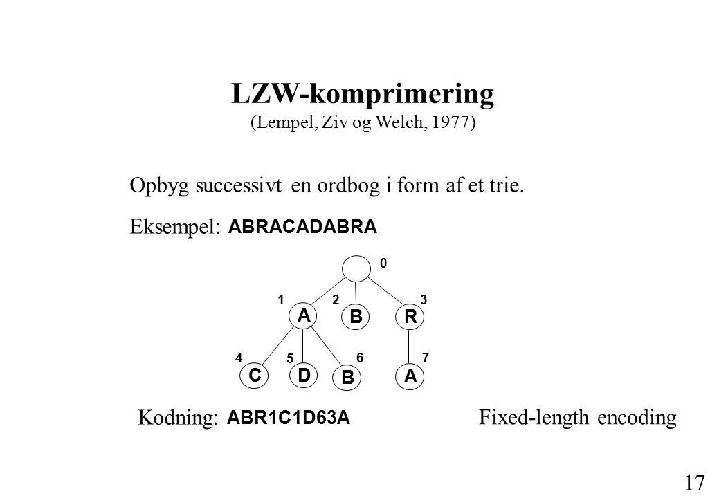 16 Problemer for Huffmans algoritme Kodetræet skal medsendes (typisk 255 bytes) Beregningsmæssigt dyr To gennemløb af filen (frekvensbestemmelse + kodning) Typisk 25% pladsreduktion, men ikke optimal