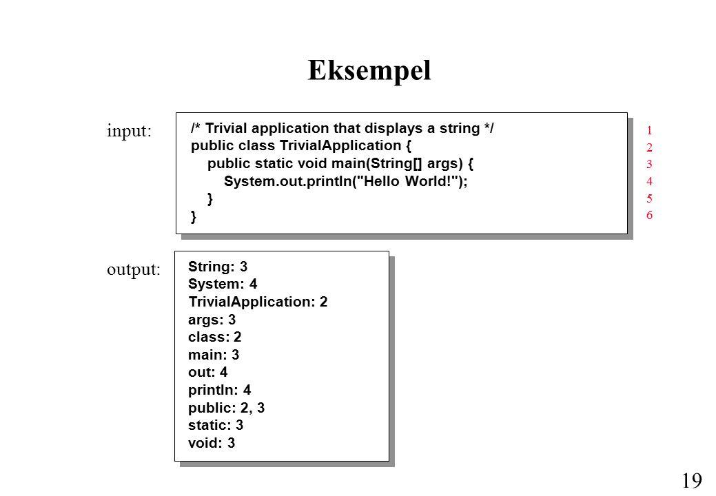18 Generering af krydsreferencer Udvikling af et program, der indlæser et Java-program og udskriver alle programmets navne i sorteret orden sammen med de linjenumre, hvori de forekommer.