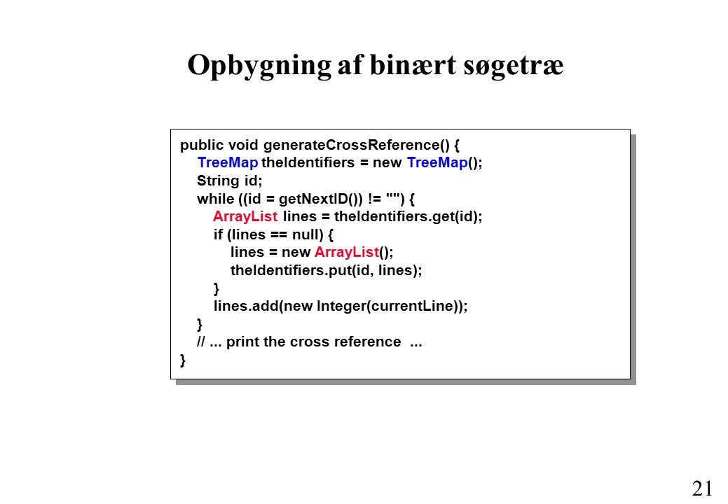 20 Datastrukturer og algoritme Opbyg et binært søgetræ indeholdende de fundne navne.