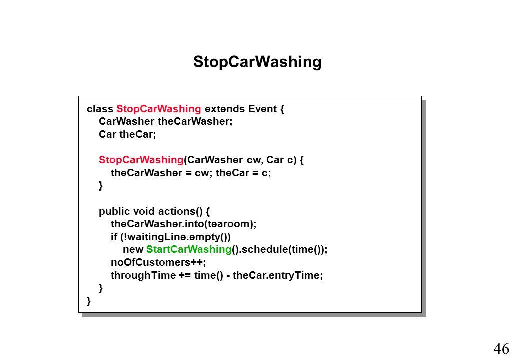 45 StartCarWashing class StartCarWashing extends Event { public void actions() { CarWasher theCarWasher = (CarWasher) tearoom.first(); theCarWasher.out(); Car theCar = (Car) waitingLine.first(); theCar.out(); new StopCarWashing(theCarWasher, theCar).