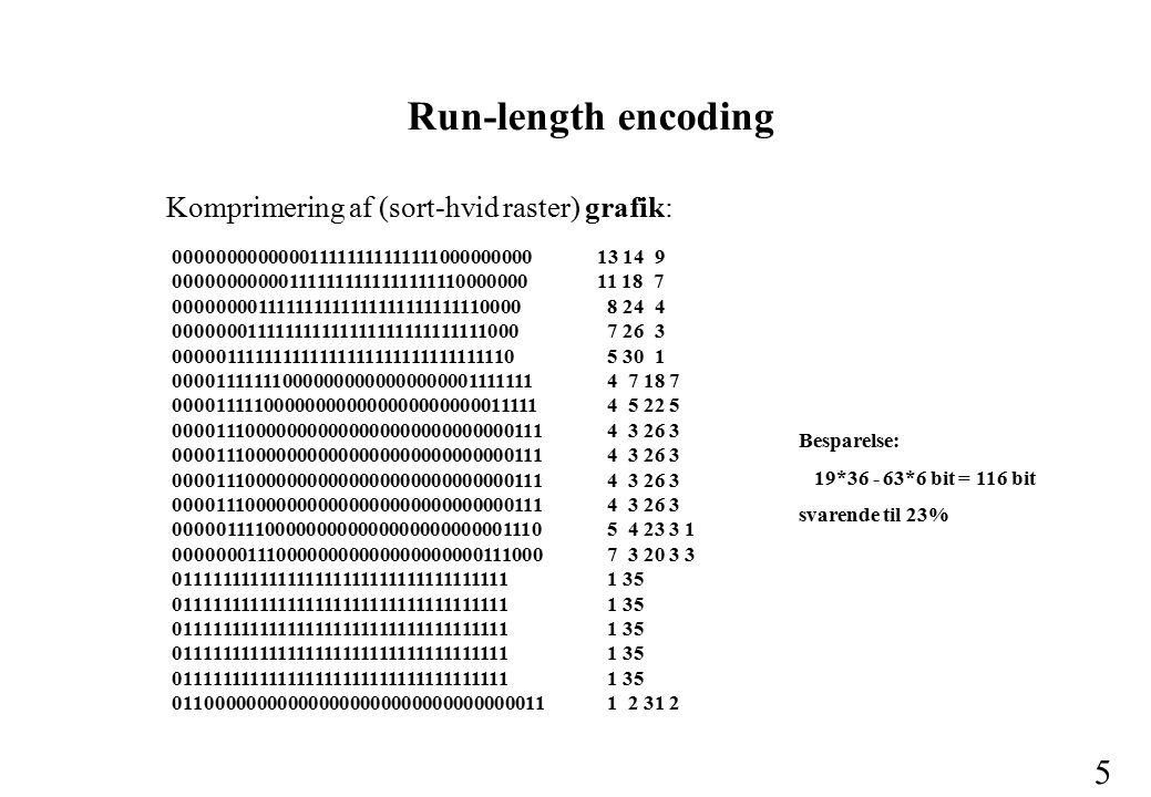 4 Run-length encoding Komprimering ved tælling af gentagelser.