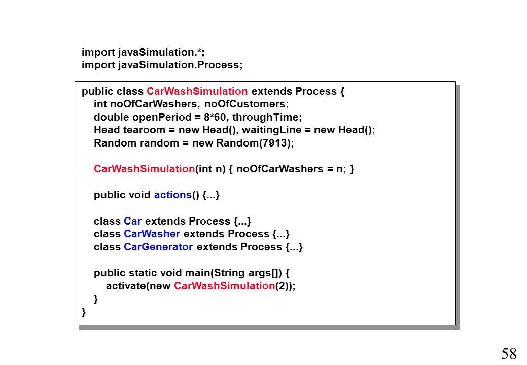 57 Processer og deres tilknyttede handlinger beskrives i underklasser af klassen Process.