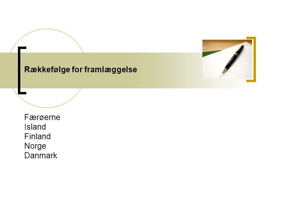 Rækkefølge for framlæggelse Færøerne Island Finland Norge Danmark