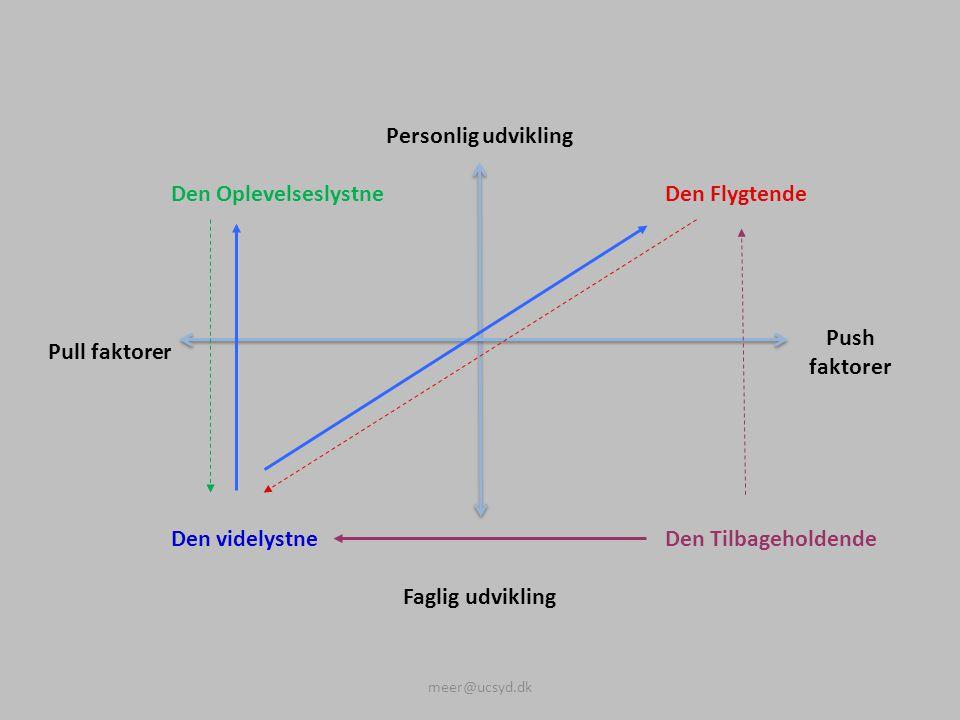 Personlig udvikling Den OplevelseslystneDen Flygtende Pull faktorer Push faktorer Den videlystneDen Tilbageholdende Faglig udvikling meer@ucsyd.dk