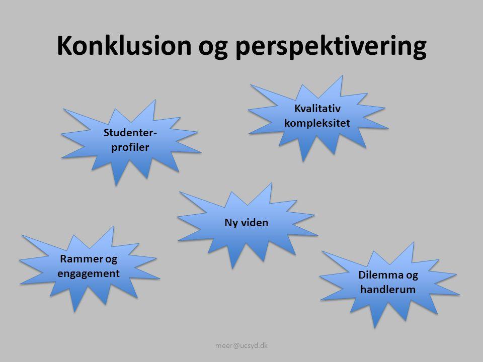 Konklusion og perspektivering meer@ucsyd.dk Studenter- profiler Kvalitativ kompleksitet Ny viden Rammer og engagement Dilemma og handlerum