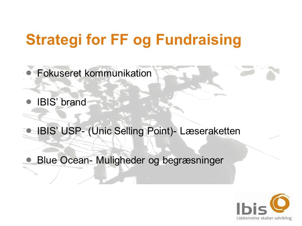 Strategi for FF og Fundraising  Fokuseret kommunikation  IBIS' brand  IBIS' USP- (Unic Selling Point)- Læseraketten  Blue Ocean- Muligheder og begræsninger