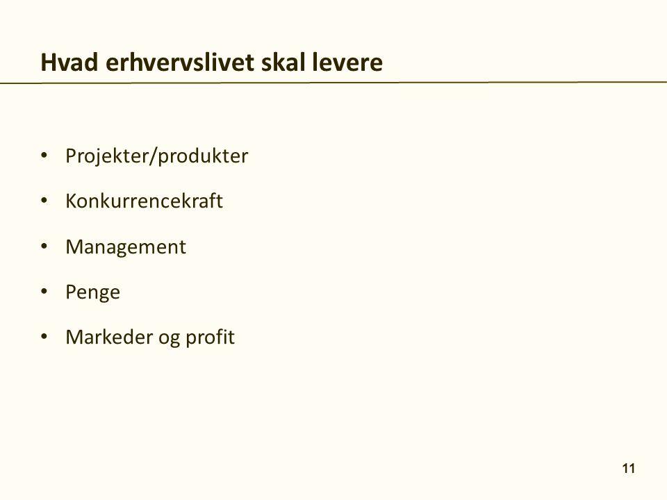 Projekter/produkter Konkurrencekraft Management Penge Markeder og profit Hvad erhvervslivet skal levere 11