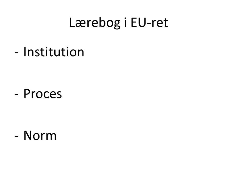 Lærebog i EU-ret -Institution -Proces -Norm