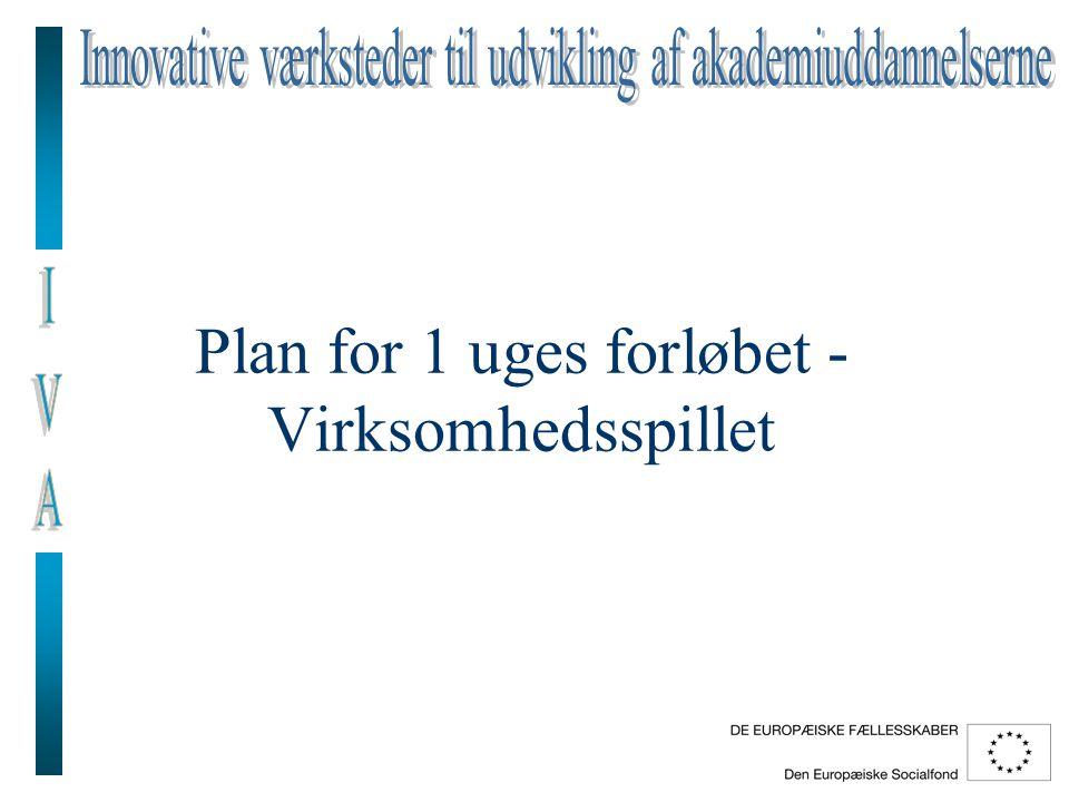 Plan for 1 uges forløbet - Virksomhedsspillet