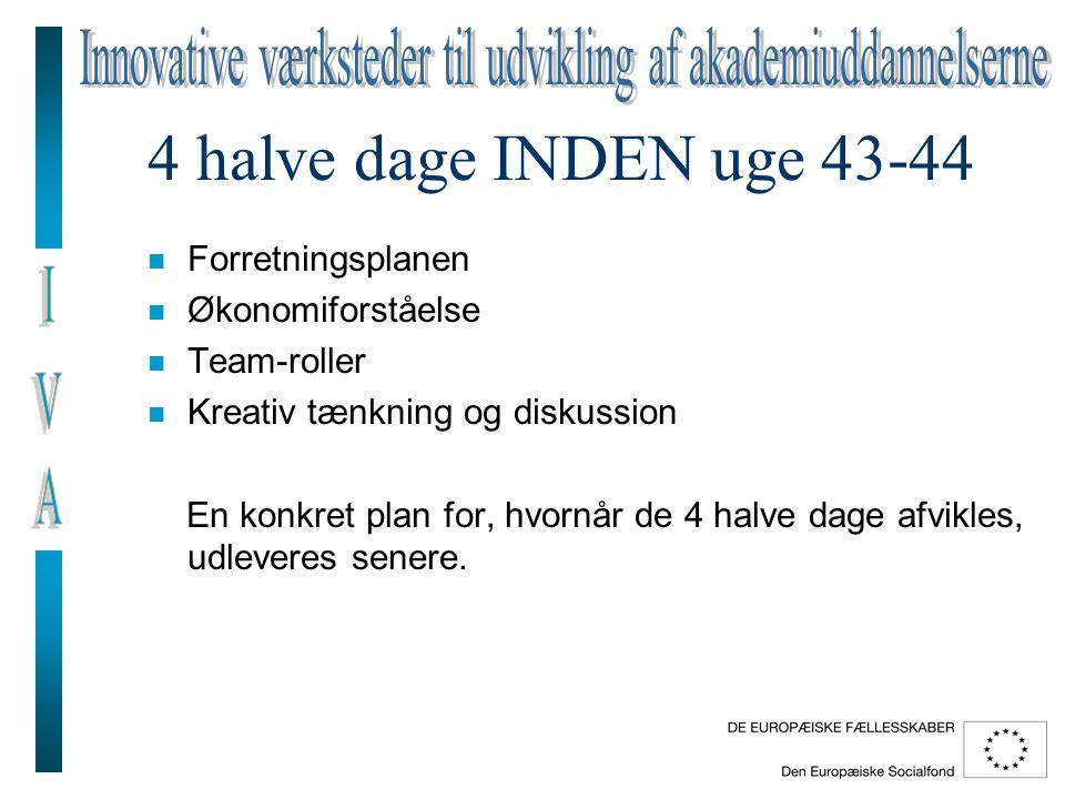 4 halve dage INDEN uge 43-44 n Forretningsplanen n Økonomiforståelse n Team-roller n Kreativ tænkning og diskussion En konkret plan for, hvornår de 4 halve dage afvikles, udleveres senere.