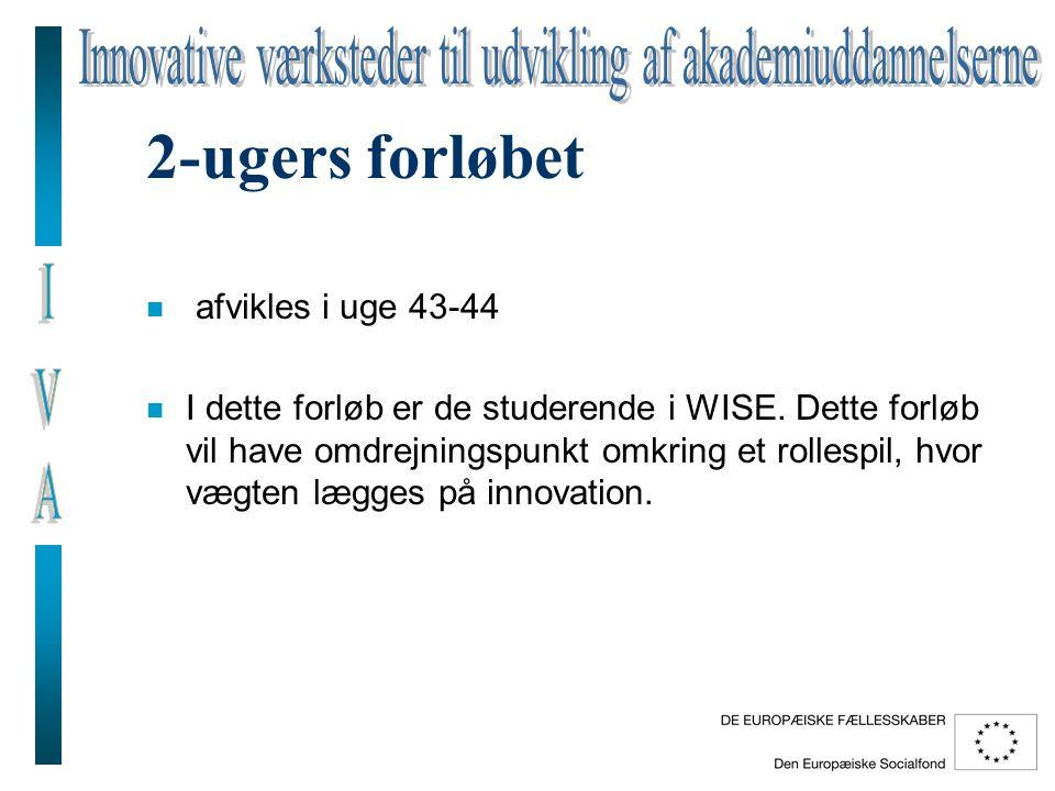 2-ugers forløbet n afvikles i uge 43-44 n I dette forløb er de studerende i WISE.