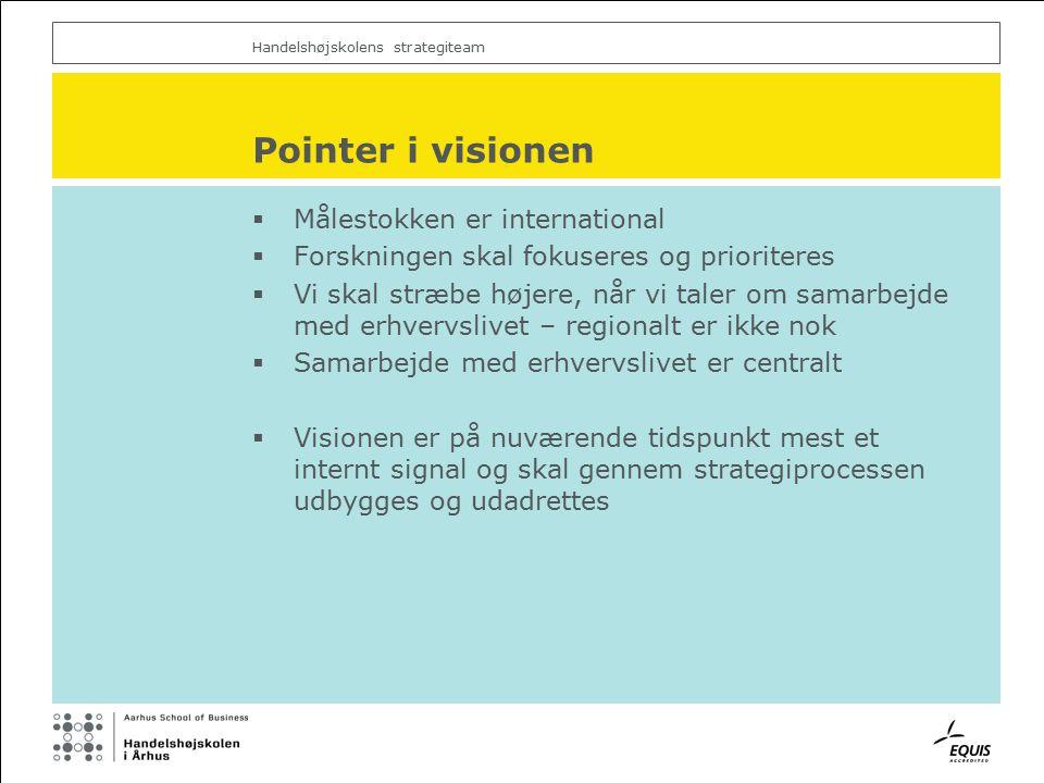 Handelshøjskolens strategiteam Pointer i visionen  Målestokken er international  Forskningen skal fokuseres og prioriteres  Vi skal stræbe højere, når vi taler om samarbejde med erhvervslivet – regionalt er ikke nok  Samarbejde med erhvervslivet er centralt  Visionen er på nuværende tidspunkt mest et internt signal og skal gennem strategiprocessen udbygges og udadrettes