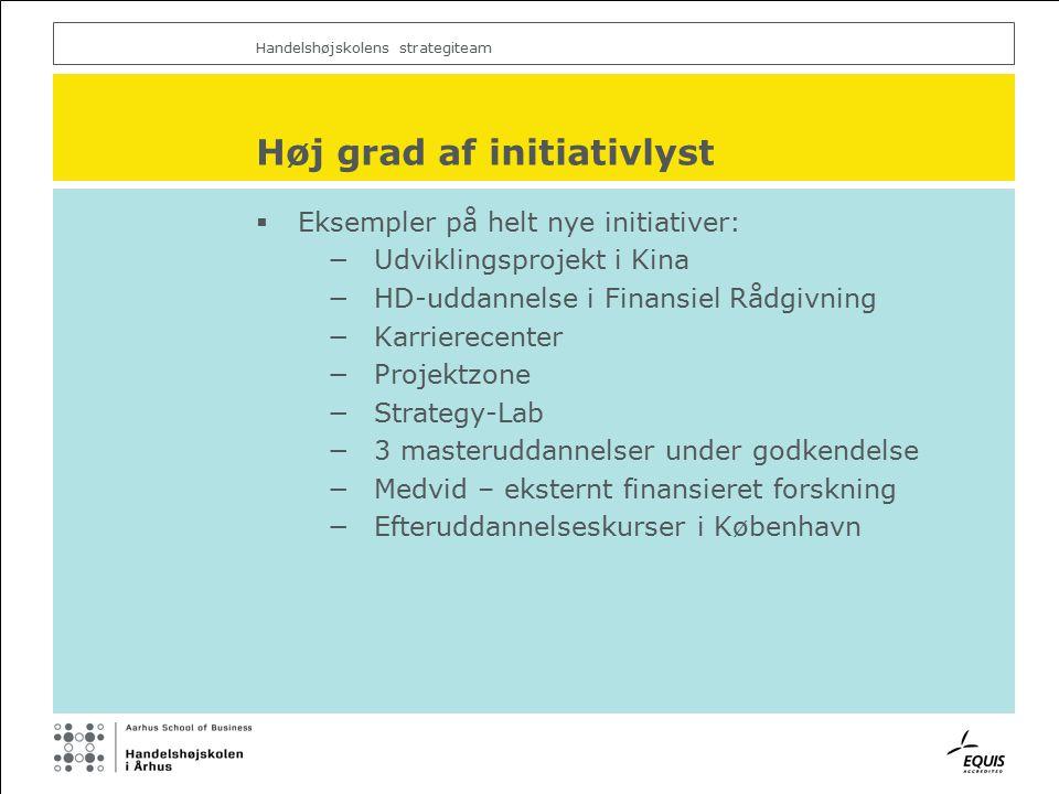 Handelshøjskolens strategiteam Høj grad af initiativlyst  Eksempler på helt nye initiativer: −Udviklingsprojekt i Kina −HD-uddannelse i Finansiel Rådgivning −Karrierecenter −Projektzone −Strategy-Lab −3 masteruddannelser under godkendelse −Medvid – eksternt finansieret forskning −Efteruddannelseskurser i København
