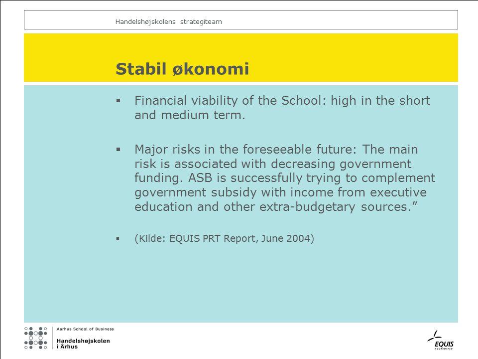 Handelshøjskolens strategiteam Stabil økonomi  Financial viability of the School: high in the short and medium term.