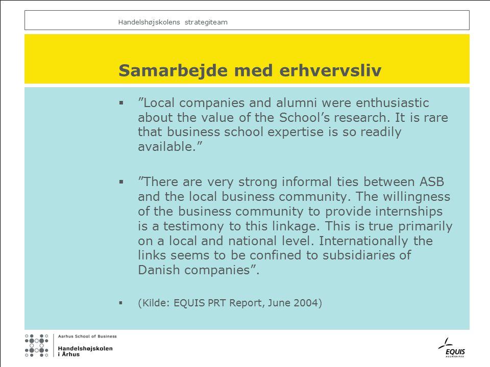 Handelshøjskolens strategiteam Samarbejde med erhvervsliv  Local companies and alumni were enthusiastic about the value of the School's research.