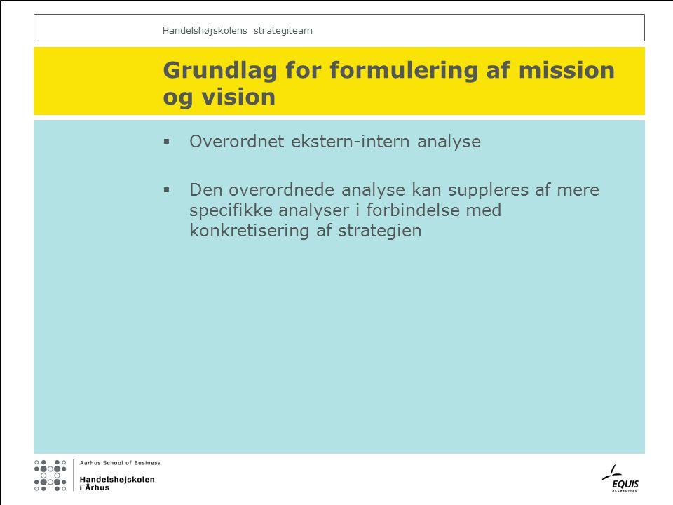 Handelshøjskolens strategiteam Grundlag for formulering af mission og vision  Overordnet ekstern-intern analyse  Den overordnede analyse kan suppleres af mere specifikke analyser i forbindelse med konkretisering af strategien