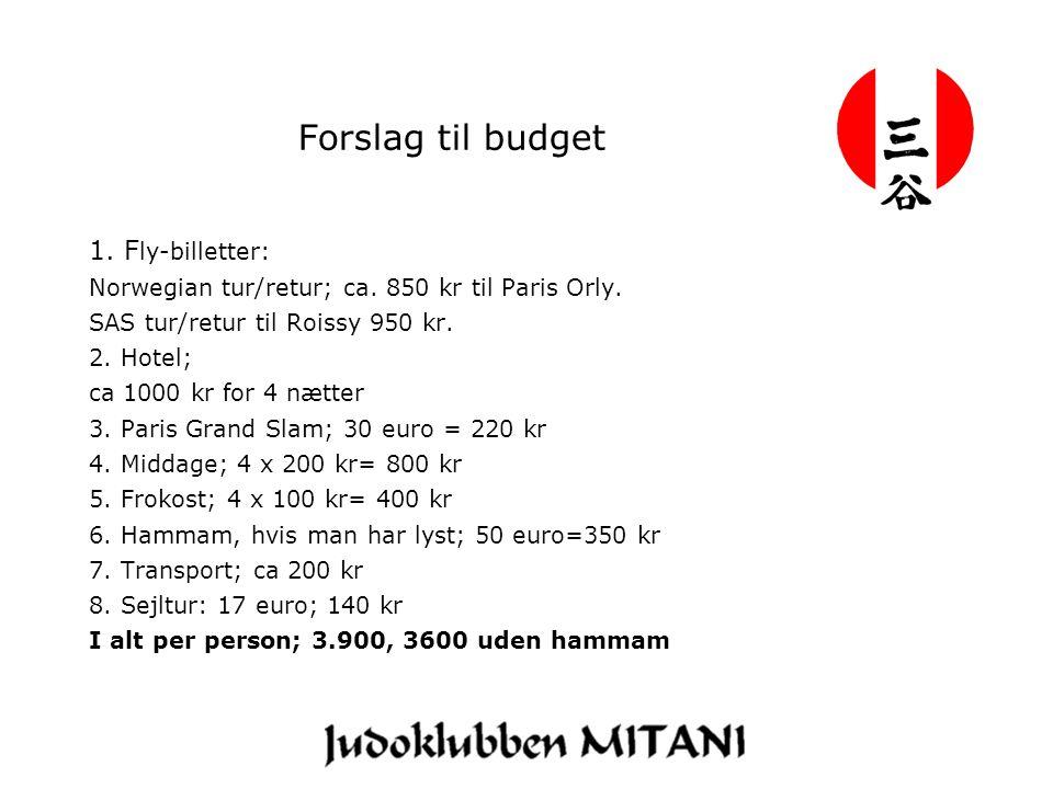 Forslag til budget 1. F ly-billetter: Norwegian tur/retur; ca.