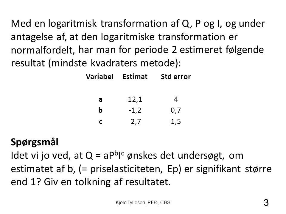 3 Kjeld Tyllesen, PEØ, CBS VariabelEstimatStd error a12,14 b-1,20,7 c 2,71,5 Med en logaritmisk transformation af Q, P og I, og under antagelse af, at den logaritmiske transformation er normalfordelt, har man for periode 2 estimeret følgende resultat (mindste kvadraters metode): Spørgsmål Idet vi jo ved, at Q = aP b I c ønskes det undersøgt, om estimatet af b, (= priselasticiteten, Ep) er signifikant større end 1.