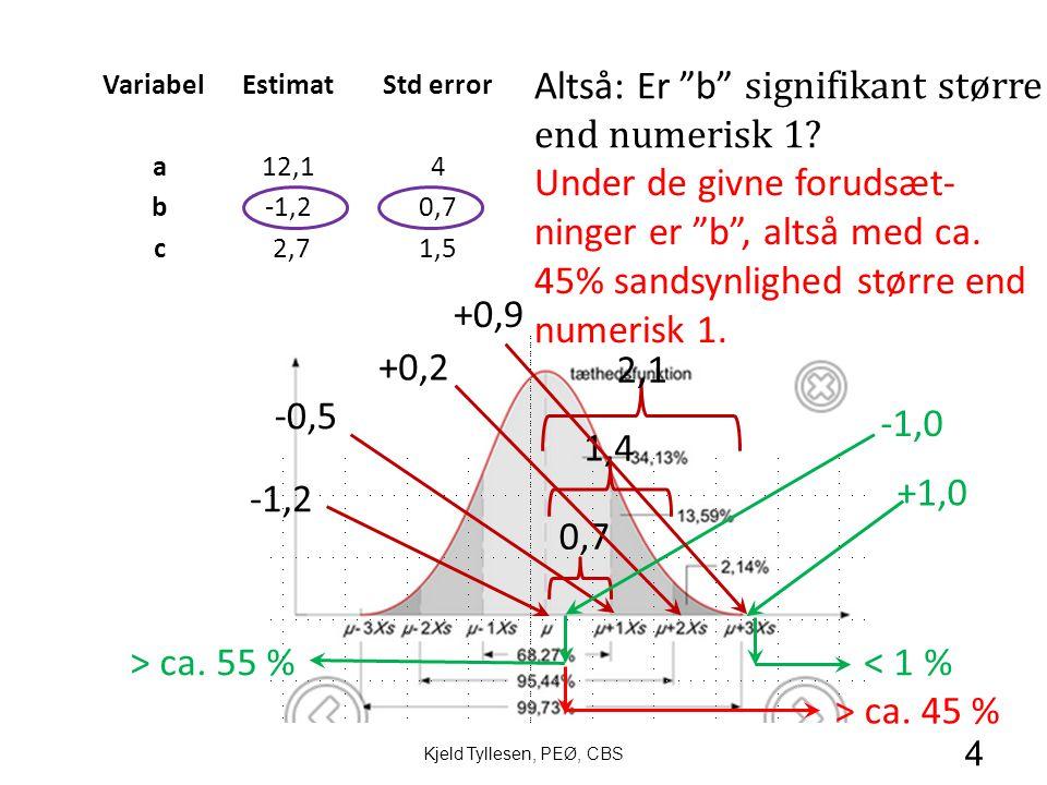 VariabelEstimatStd error a12,14 b-1,20,7 c 2,71,5 1,4 0,7 -1,2 -0,5 +0,2 +1,0 2,1 +0,9 -1,0 < 1 %> ca.