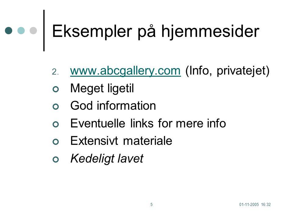 01-11-2005 16:325 Eksempler på hjemmesider 2.