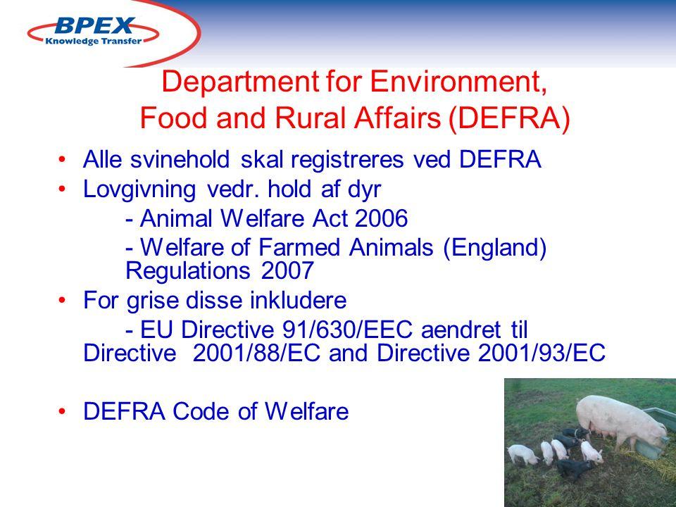 Department for Environment, Food and Rural Affairs (DEFRA) Alle svinehold skal registreres ved DEFRA Lovgivning vedr.