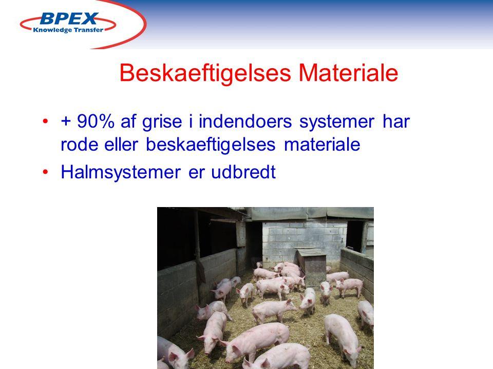 Beskaeftigelses Materiale + 90% af grise i indendoers systemer har rode eller beskaeftigelses materiale Halmsystemer er udbredt