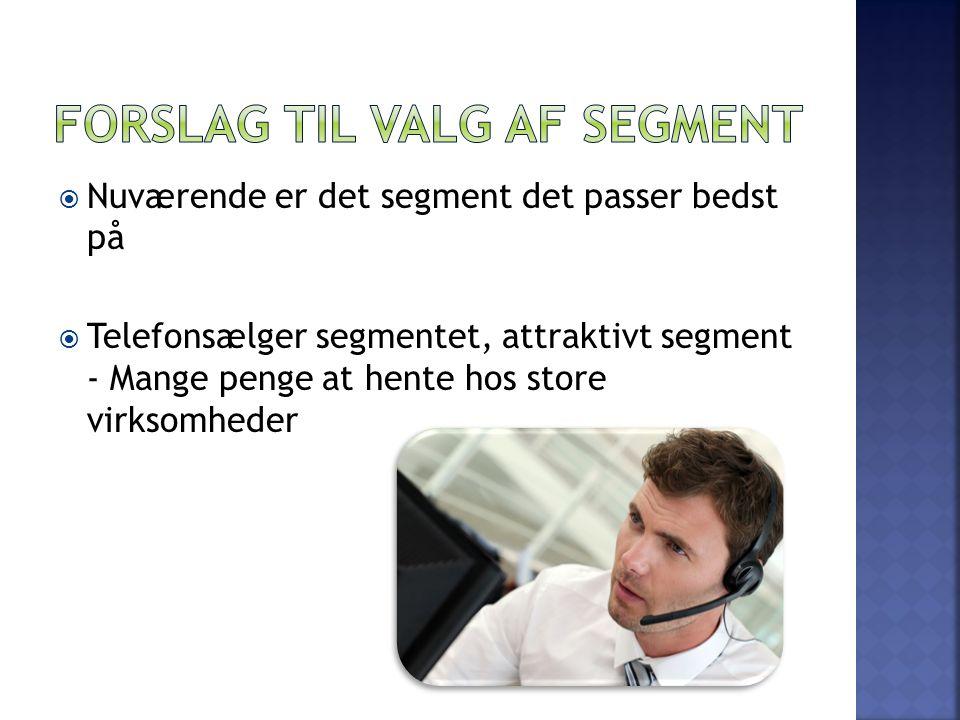  Nuværende er det segment det passer bedst på  Telefonsælger segmentet, attraktivt segment - Mange penge at hente hos store virksomheder
