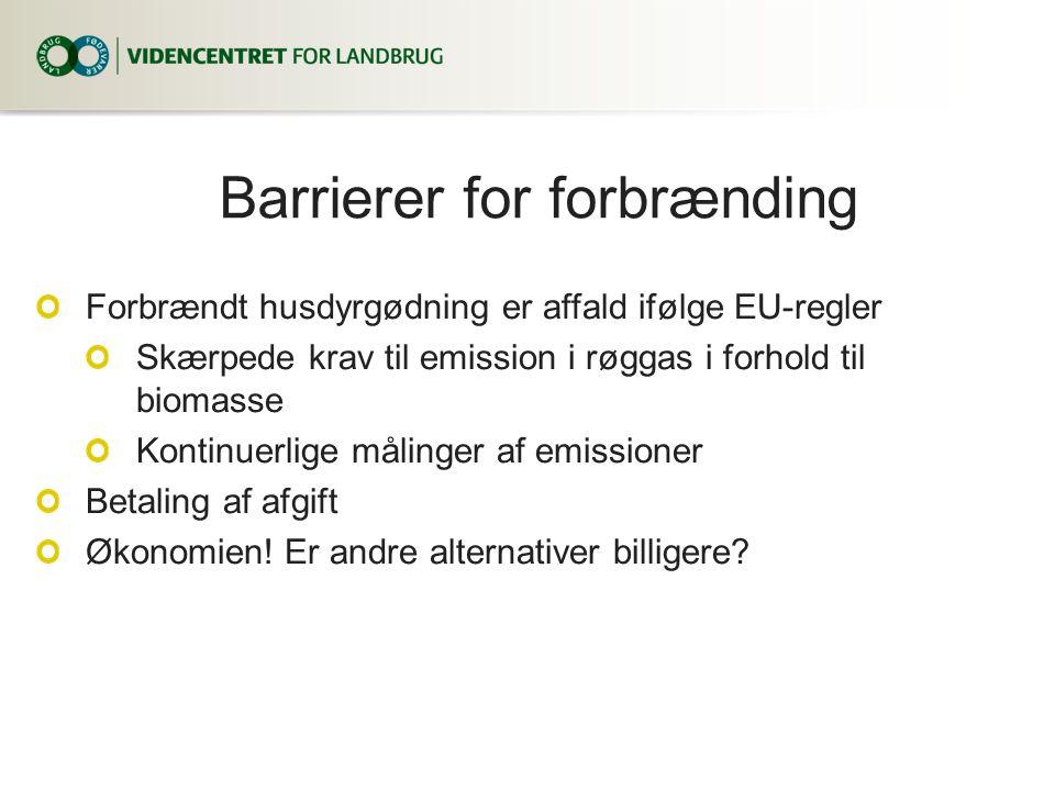 Barrierer for forbrænding Forbrændt husdyrgødning er affald ifølge EU-regler Skærpede krav til emission i røggas i forhold til biomasse Kontinuerlige målinger af emissioner Betaling af afgift Økonomien.
