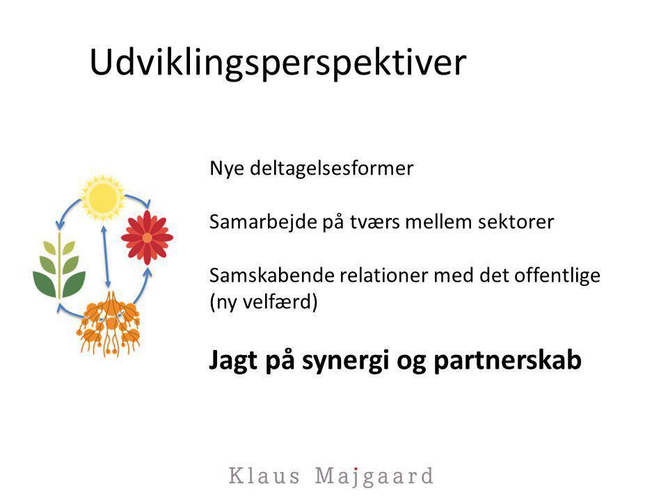 Udviklingsperspektiver Nye deltagelsesformer Samarbejde på tværs mellem sektorer Samskabende relationer med det offentlige (ny velfærd) Jagt på synergi og partnerskab