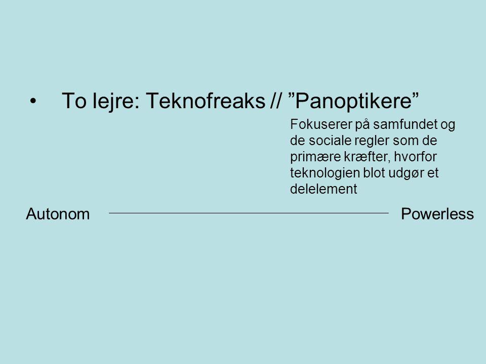 To lejre: Teknofreaks // Panoptikere Fokuserer på samfundet og de sociale regler som de primære kræfter, hvorfor teknologien blot udgør et delelement AutonomPowerless