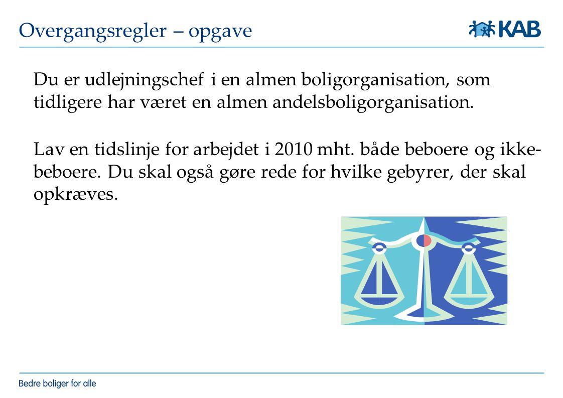Overgangsregler – opgave Du er udlejningschef i en almen boligorganisation, som tidligere har været en almen andelsboligorganisation.