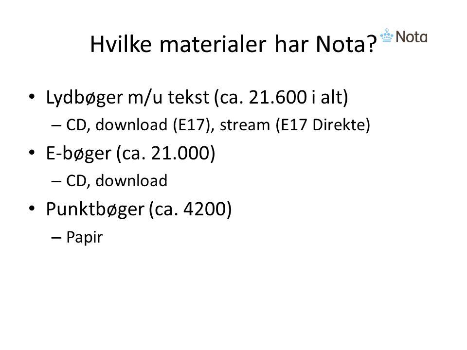 Hvilke materialer har Nota. Lydbøger m/u tekst (ca.