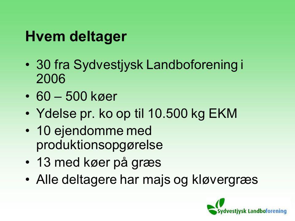 Hvem deltager 30 fra Sydvestjysk Landboforening i 2006 60 – 500 køer Ydelse pr.