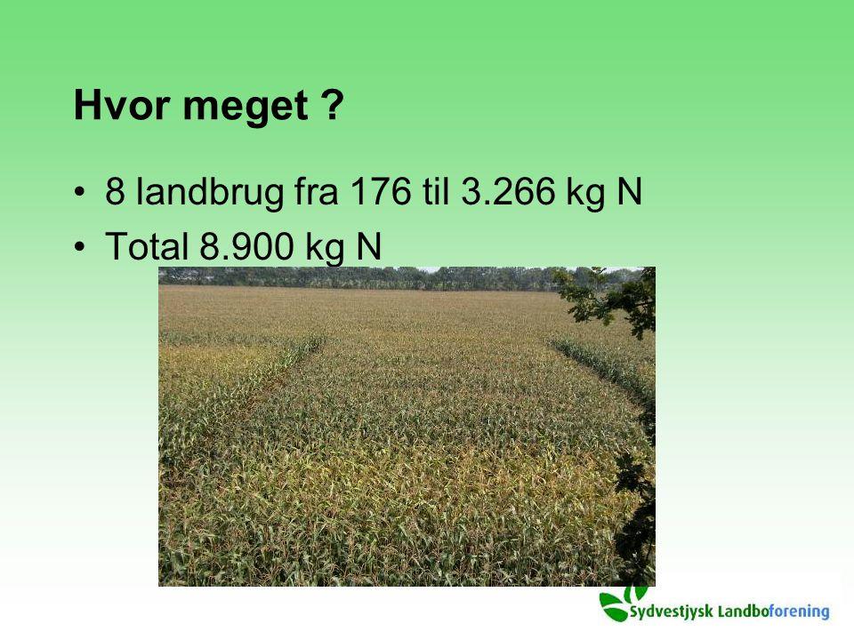 Hvor meget 8 landbrug fra 176 til 3.266 kg N Total 8.900 kg N
